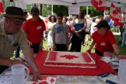 And the cake arrives at Gyro Park in Grand Forks; Photo, Mona Mattei